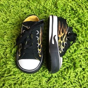 Converse All Star Toddler Sneakers Black Flames 4T